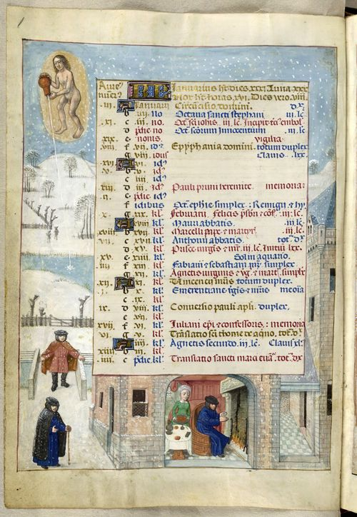 A page from the Breviary of Queen Isabella of Castile, showing the calendar for January, with an illustration of a winter scene.