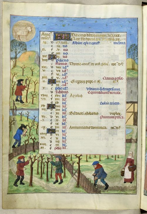 A page from the Isabella Breviary, showing the calendar for March, with an illustration of a landscape in Spring and labourers trimming and preparing vines and digging for the year's first crops.