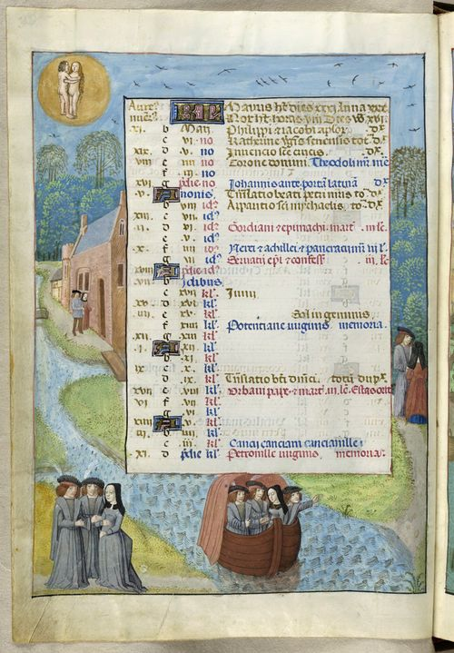 A page from the Isabella Breviary, showing the calendar page for May, with illustrated scenes of courting and romance in a Spring landscape.
