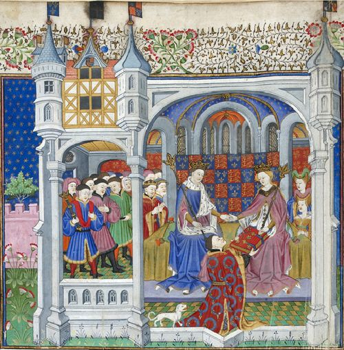 A detail from the Talbot Shrewsbury Book, showing an illustration of John Talbot presenting his book to Queen Margaret and King Henry VI.