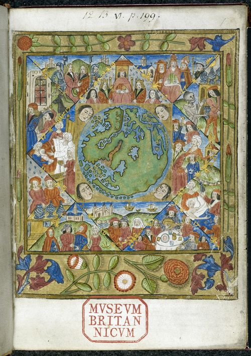A page from William Parron's Mappa Mundi, showing an illustration of an astrological world map, with the signs of the zodiac and personifications of the wind.