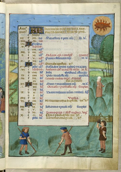 A page from the Isabella Breviary, showing the calendar for June, with an illustration of a hay harvest, with labourers cutting hay and stacking it.