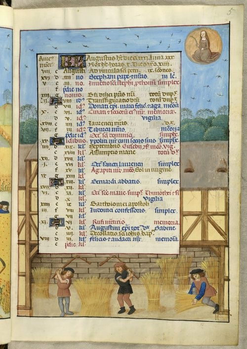 A page from the Isabella Breviary, showing the calendar for August, with a scene of labourers finishing the harvest, threshing wheat and gathering it into sheaves inside a barn.