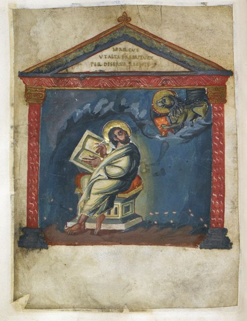A page from the Coronation Gospels, showing a portrait of the Evangelist St Mark writing at a desk.