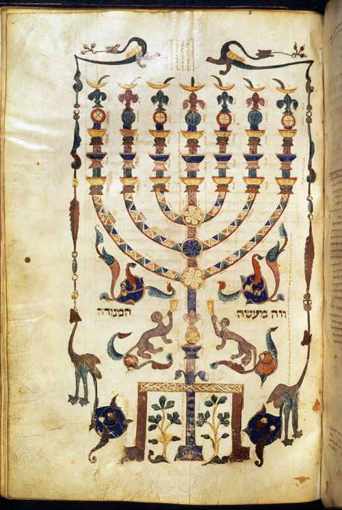 A page from a Hebrew Bible, showing an illustration of a Menorah, surrounded by the figures of animals.
