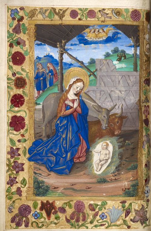 A page from a medieval manuscript, showing an illustration of the Nativity, with the Virgin Mary and Infant Christ.