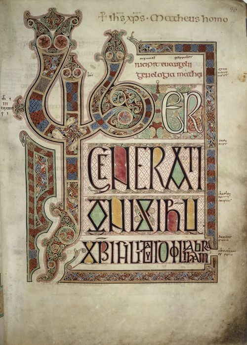 The beginning of the Gospel of St Matthew, from The Lindisfarne Gospels, showing large decorated initials L and G.
