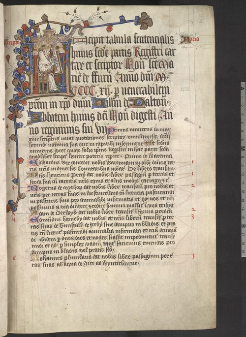 A page from the Cartulary of Furness Abbey, showing a portrait of the manuscript's scribe John Stell.