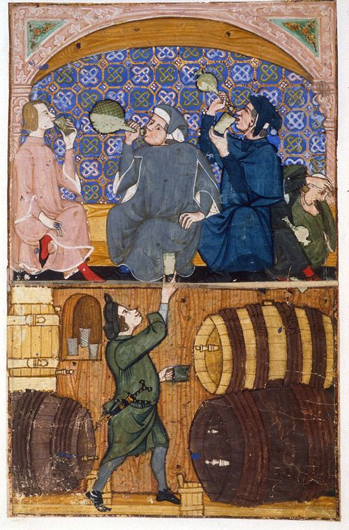 A page from the Cocharelli Codex, showing an illustration of a scene in a tavern.