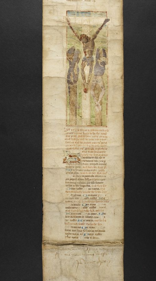 A section of the Henry VIII Prayer Roll, showing an illustration of the Crucifixion.