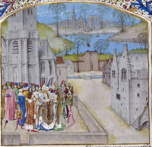 A detail from a medieval manuscript, showing an illustration of the marriage of King Edward II and Isabella of France.