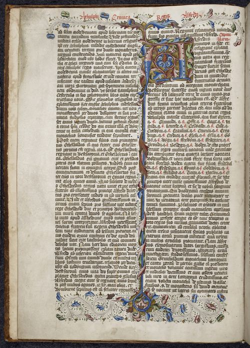 A page from the Liber de Hyda, with a large decorated initial and border.