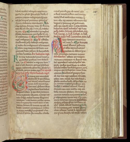 A page from the Cartulary of Abingdon Abbey, showing two large decorated initials.