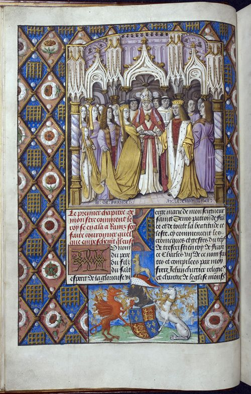 A page from a manuscript of Froissart's Chroniques, showing an illustration of the marriage of Henry V and Catherine of Valois
