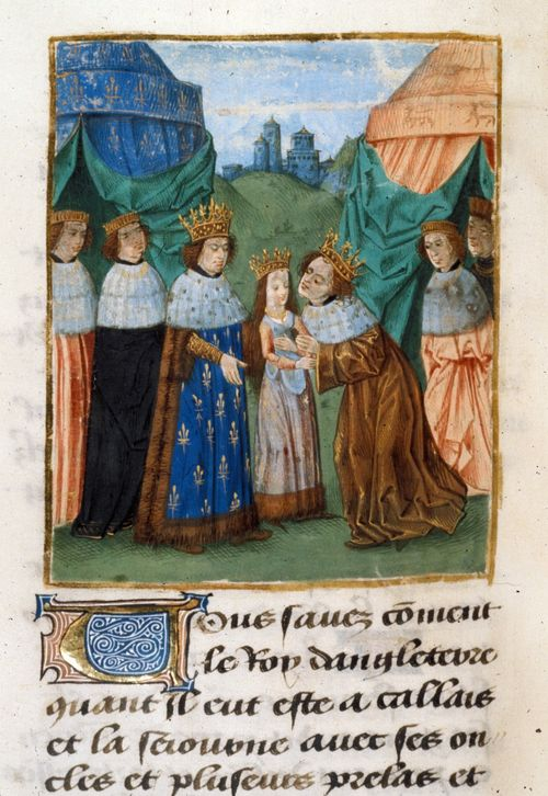 A detail from a medieval manuscript of Froissart's Chroniques, showing an illustration of King Richard II receiving his bride Isabel of France.