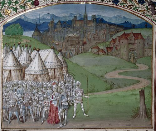 A detail from a medieval manuscript, showing an illustration of Queen Isabella and her army.