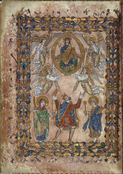 A page from the New Minster Charter, showing an illustration of King Edgar, with the Virgin Mary, St Peter, Christ in Majesty, and angels.