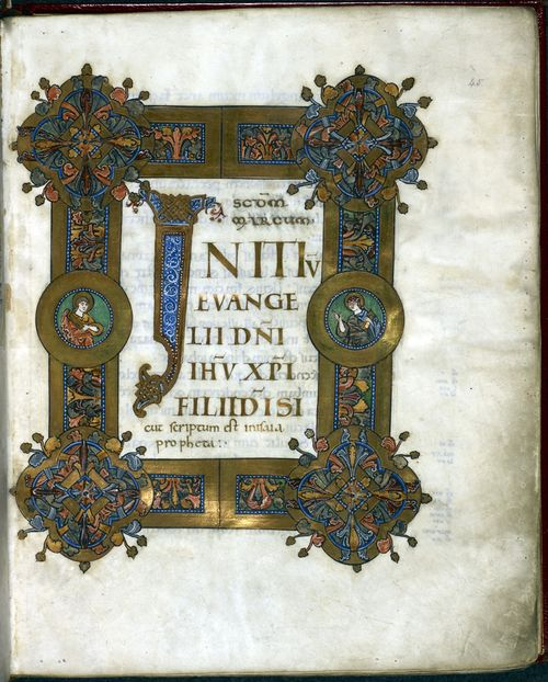 The Incipit page for the Gospel of St Mark, from the Cnut Gospels, showing a decorated frame and initial letters in gold.