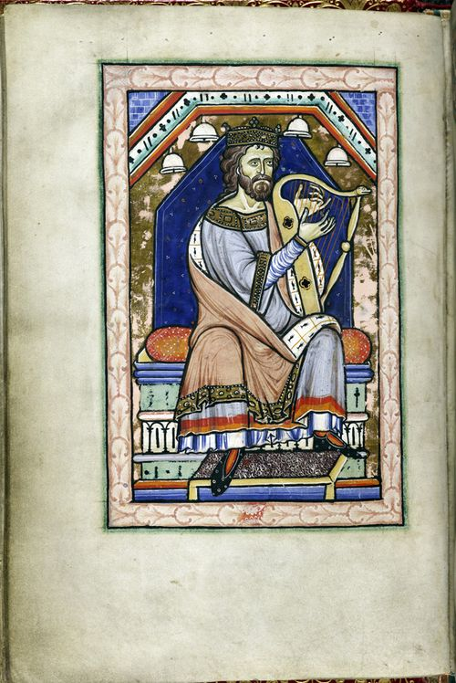 A page from the Westminster Psalter, showing an illustration of King David playing the harp.