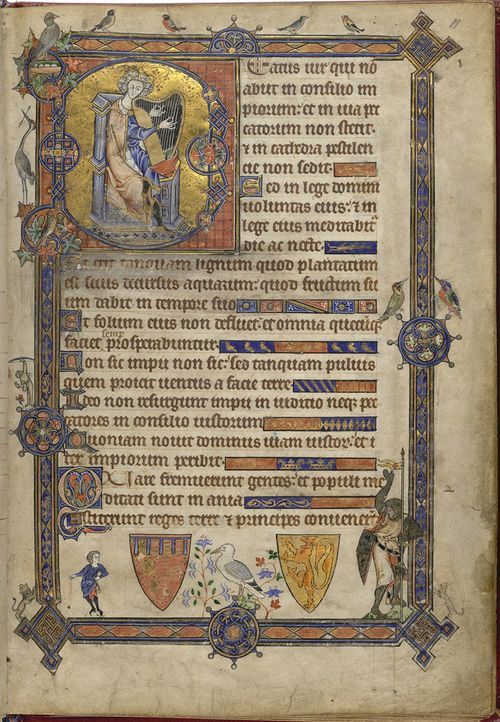 A page from the Alphonso Psalter, showing a historiated initial with a representation of King David playing a harp, and a bas-de-page scene of the fight between David and Goliath.