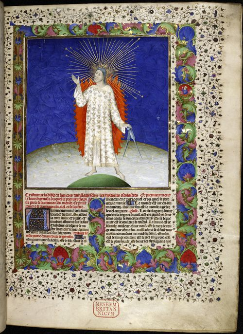 A highly illuminated page from a Bible Historiale, showing an illustration of God the Creator and a decorated border.