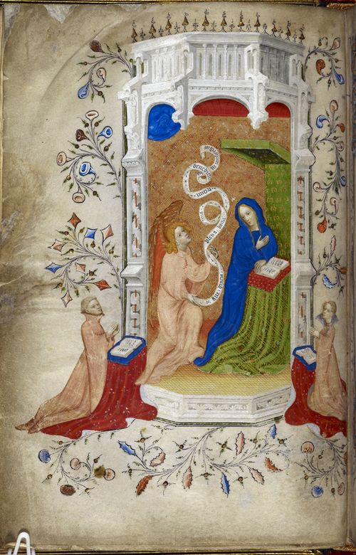 A page from the Beauchamp or Beaufort Hours, showing an illustration of the Annunciation, with two donors praying.