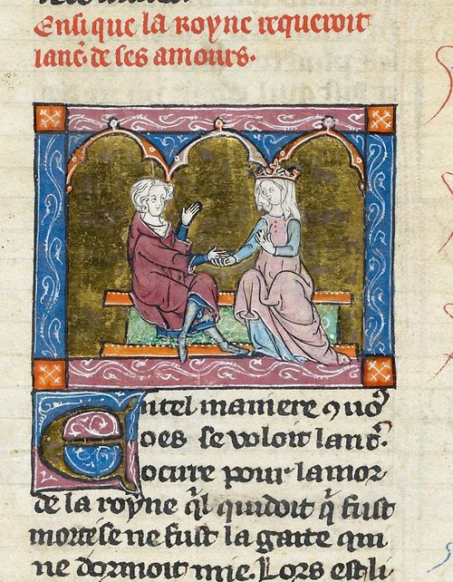 A detail from a manuscript of the Prose-Vulgate Cycle, showing an illustration of Lancelot and Guinevere.