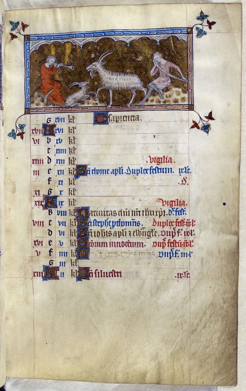 A calendar page for December from the Queen Mary Psalter, with the feast day of Thomas Becket erased.