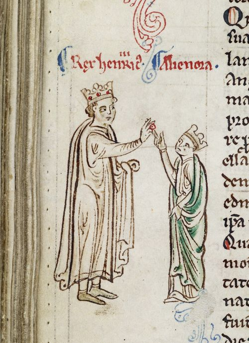 A detail from a manuscript of Matthew Paris' Historia Anglorum, showing a marginal illustration of the marriage of King Henry III and Eleanor of Provence.