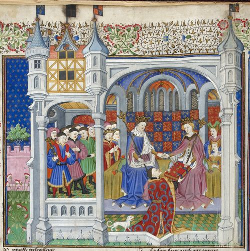 A detail from the Talbot Shrewsbury Book, showing an illustration of John Talbot presenting his book to King Henry VI and Queen Margaret.