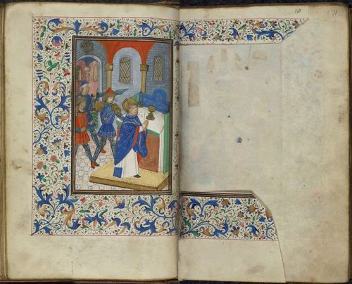 An opening from a 15th-century Book of Hours, showing an illustration of the martyrdom of Thomas Becket, with the facing text of his suffrage excised from the manuscript.
