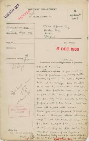 Keynes's draft of a letter to Speir.