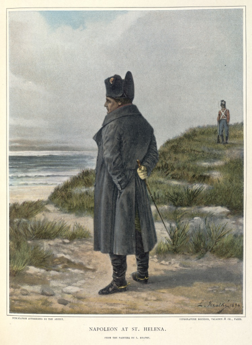 Napoleon standing on the cliffs at St Helena looking out to sea