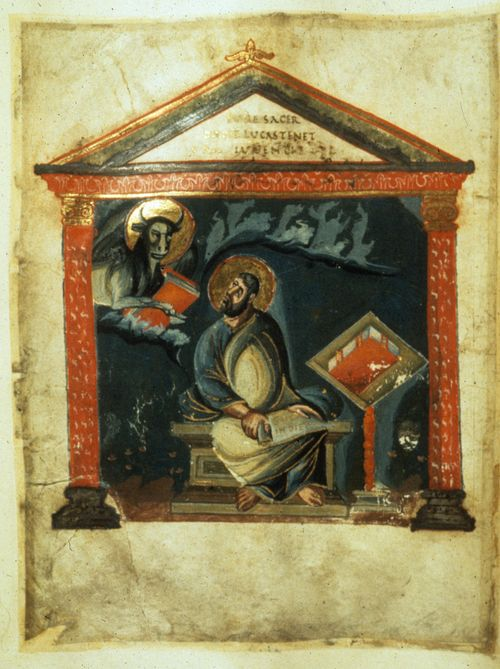 A portrait of the Evangelist St Luke writing at a desk, from the Coronation Gospels.
