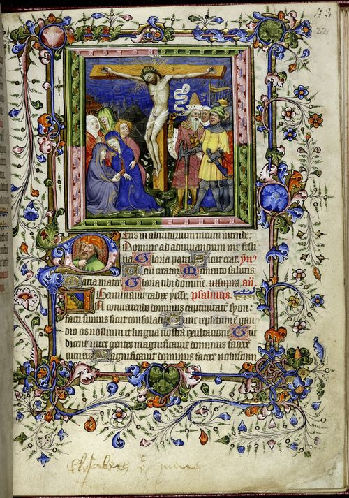 A page from the Hours of Elizabeth the Queen, showing an illustration of the Crucifixion and highly decorated frame.