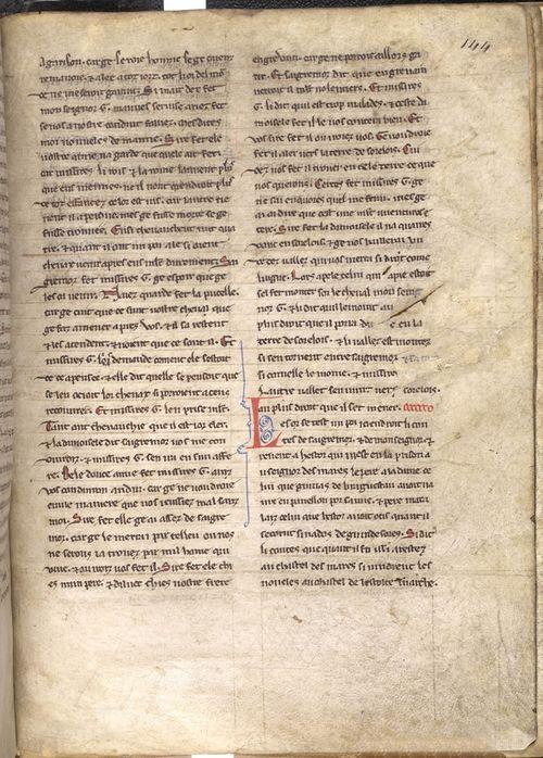 A text page from a medieval manuscript of the romance Lancelot du Lac.