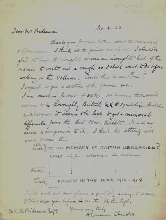 Letter from H Lawrence Christie to W R B Prideaux, Secretary of the Library Association
