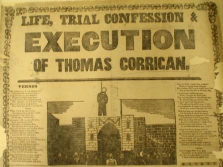 Broadsheet detailing Corrigan's execution