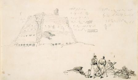 Studies of a brick kiln and of a group of men sawing a plank