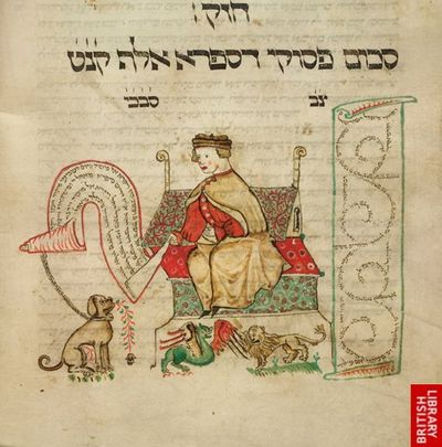 An illustration of a seated man, accompanied by a dog, a dragon, and a lion, from the Coburg Pentateuch.