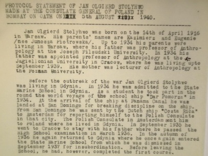 Document about the Polish refugees from the India Office Records