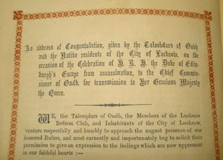 Address from the Taluqdars of Oudh and native residents of Lucknow to Queen Victoria