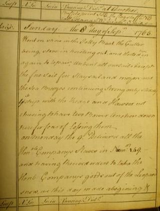 Extract from ship's journal about the Royal George slaves