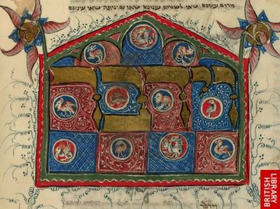 A detail of a decorated initial-word panel from a 14th-century manuscript of the Pentateuch.