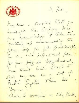Letter from Sassoon to FitzRoy dated 11 Feb 1927