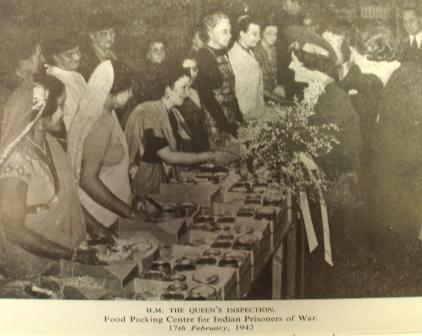 Inspection of the food packing centre for Indian POWs by Queen Elizabeth, February 1942
