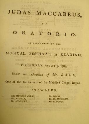 Programme for Reading Music Festival 1787