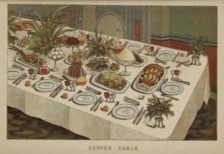 Table laid for lavish supper
