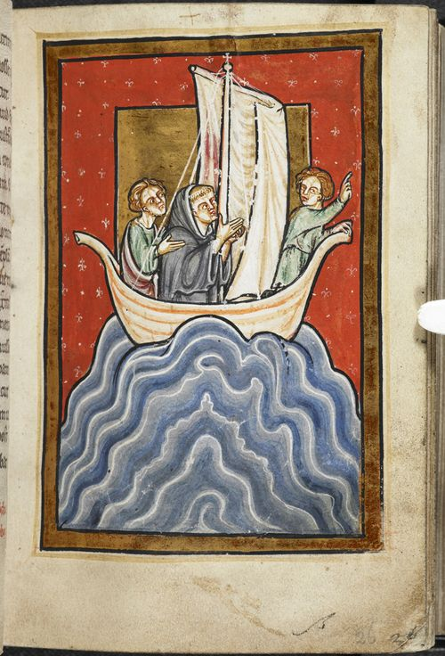 A page from a medieval manuscript, showing an illustration of St Cuthbert in a boat with two men.