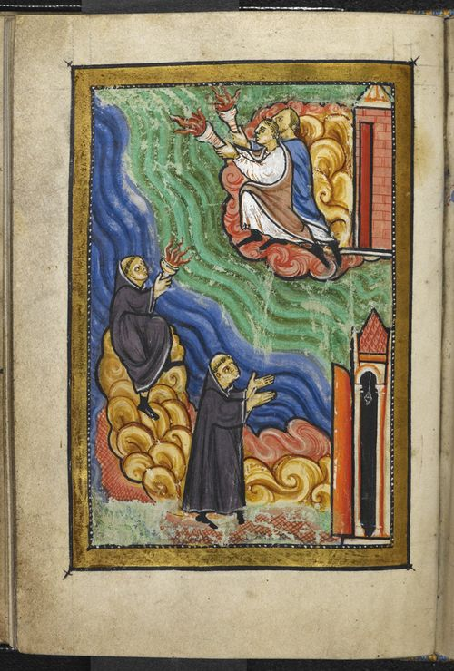 A page from a medieval manuscript, showing an illustration of monks signalling with torches that St Cuthbert has died.